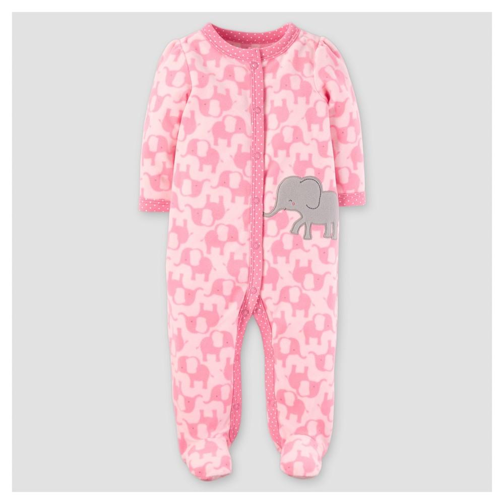 Baby Girls Poly Fleece Elephants Sleep N Play - Just One You Made by Carters Pink NB