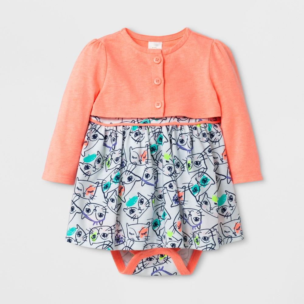 Baby Girls 2pc A-Line Dress and Cardigan Set - Cat & Jack Floral/Peach 18 Months, Size: 18 M, Orange