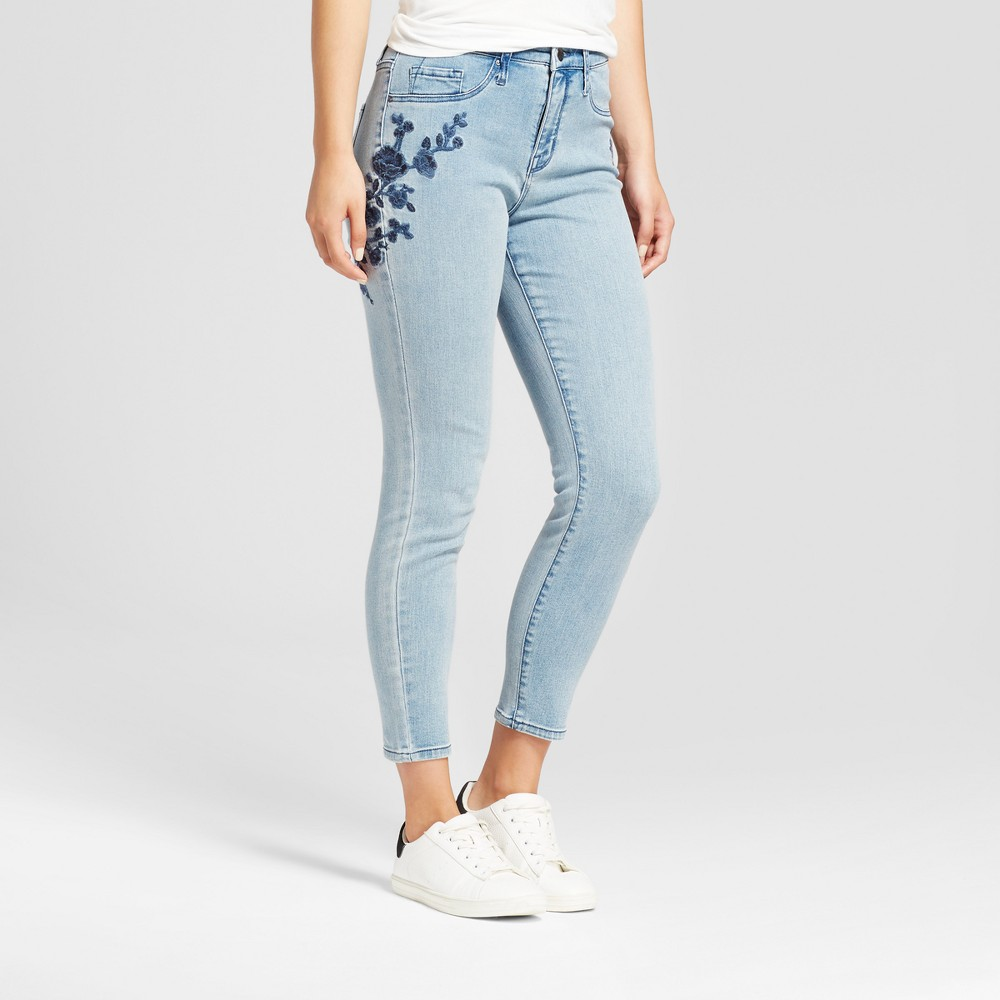 Womens High Rise Embroidered Crop Jeggings - Mossimo Light Wash 0, Blue