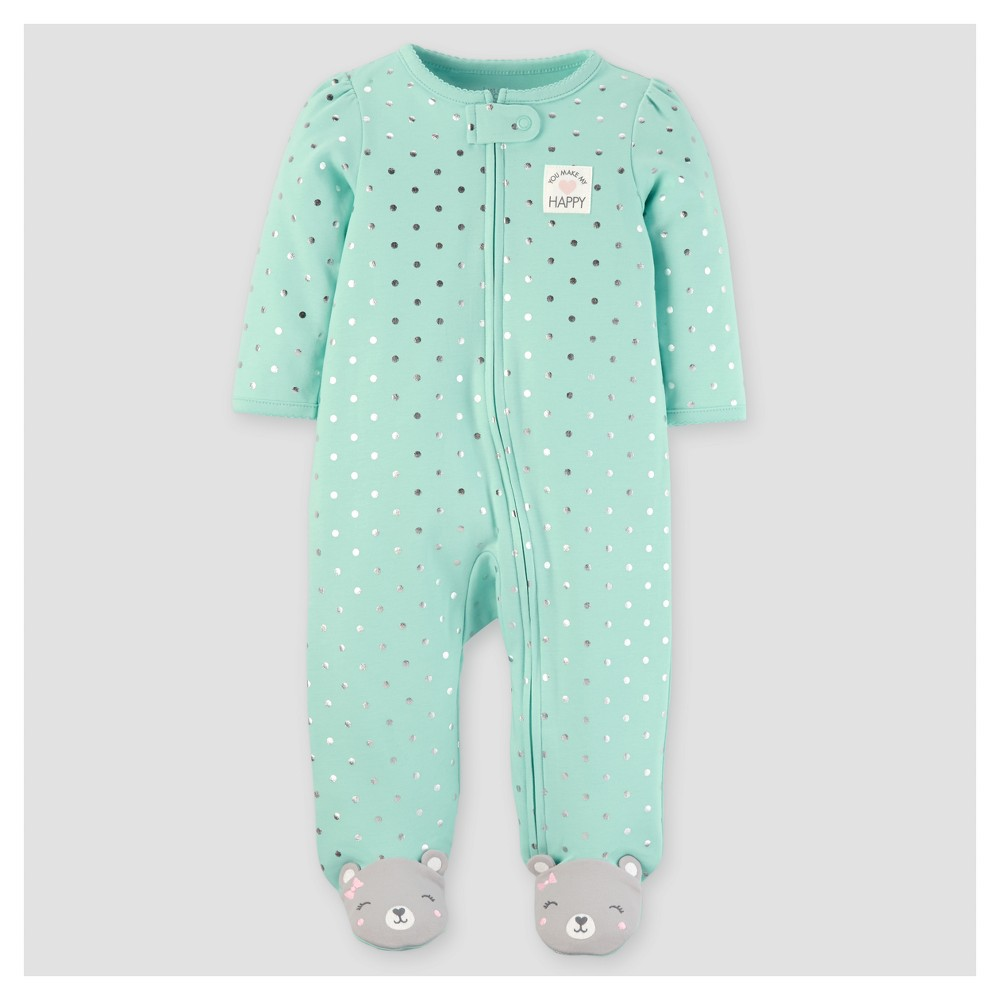 Baby Girls Happy Foil Dots Sleep N Play - Just One You Made by Carters Mint 9M, Size: 9 M, Green