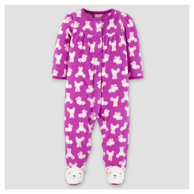 Baby Girls' Poly Fleece Mice Sleep N' Play - Just One You™ Made by Carter's® Violet/Pink 3M