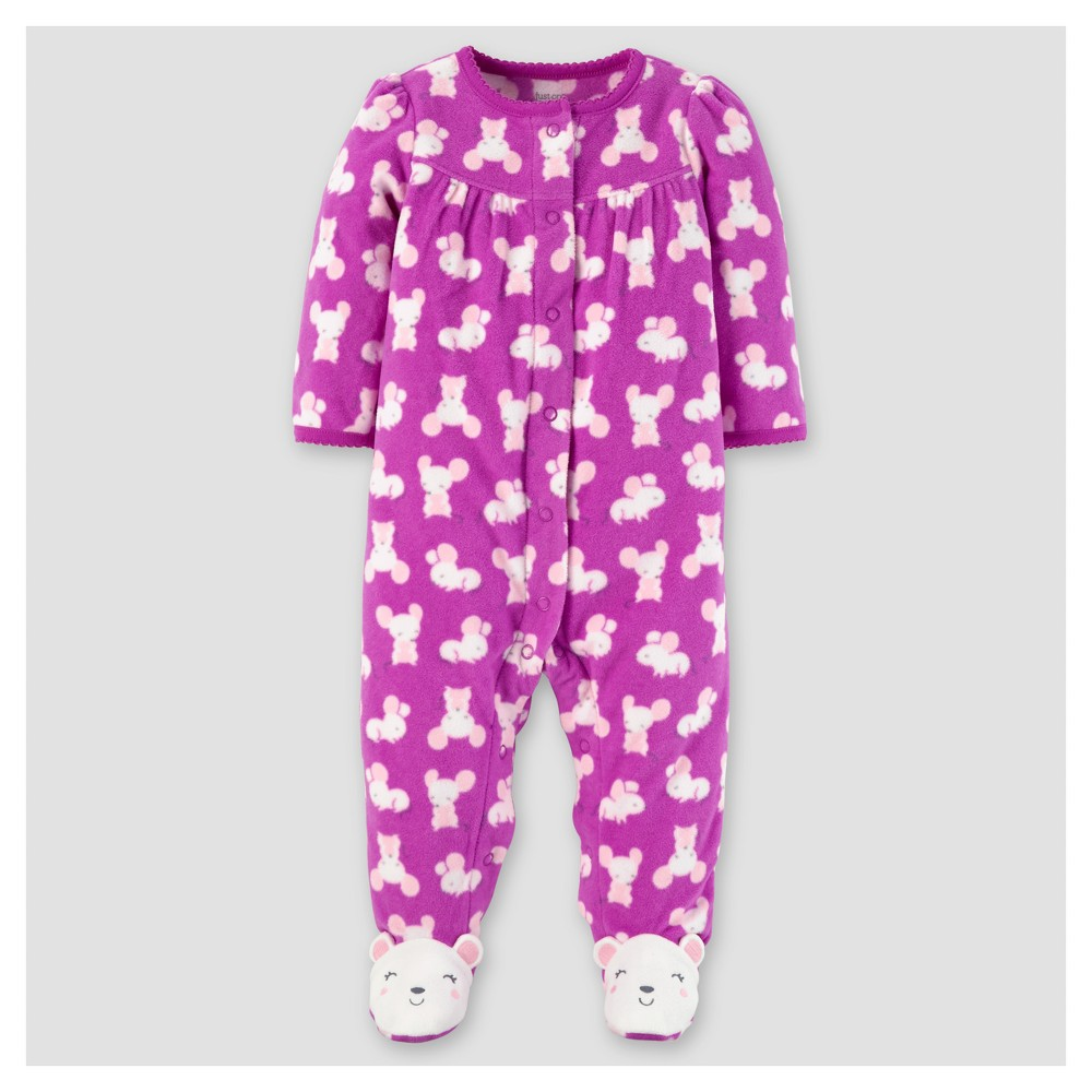 Baby Girls Poly Fleece Mice Sleep N Play - Just One You Made by Carters Violet/Pink 3M, Size: 3 M, Purple