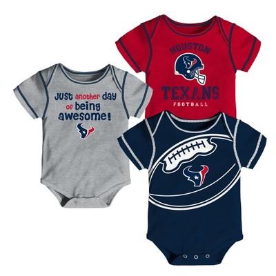 Houston Texans Baby Boys' Awesome Football Fan 3pk Bodysuit Set - 0-3 M