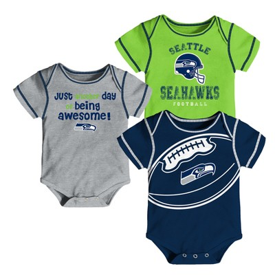 Seattle Seahawks Baby Boys' Awesome Football Fan 3pk Bodysuit Set - 3-6 M