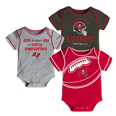 Tampa Bay Buccaneers Baby Boys' Awesome Football Fan 3pk Bodysuit Set - 3-6 M