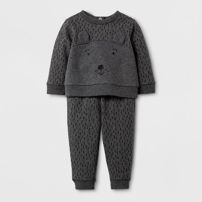 Baby Boys' 2pc Bear Sweatshirt and Jogger Set - Cat & Jack™ Gray 6-9M