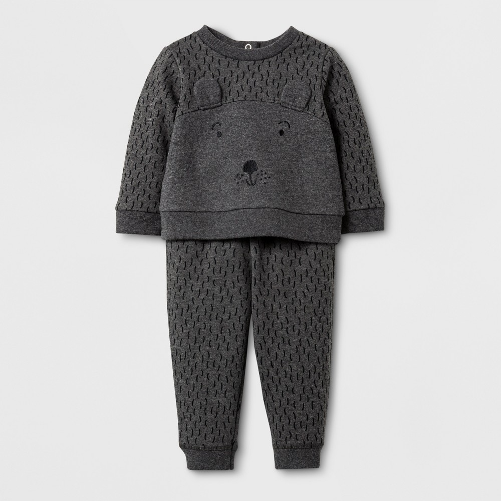Baby Boys 2pc Bear Sweatshirt and Jogger Set - Baby Cat & Jack Grey 6-9 Months, Size: 6-9 M, Gray