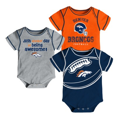 Denver Broncos Baby Boys' Awesome Football Fan 3pk Bodysuit Set - 18 M