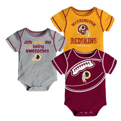 Washington Redskins Baby Boys' Awesome Football Fan 3pk Bodysuit Set - 18 M