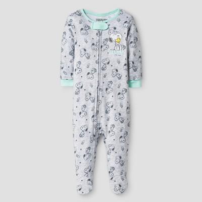 Baby Boys' Peanuts  Hugs  Sleeper - Gray 6-9M