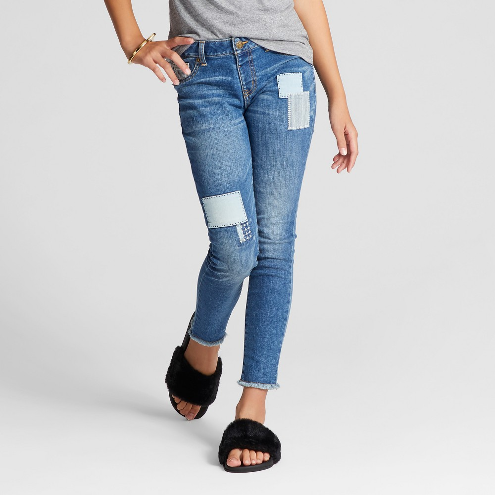 Girls Patched Skinny Jeans - Cat & Jack Blue Dusk 7 Slim