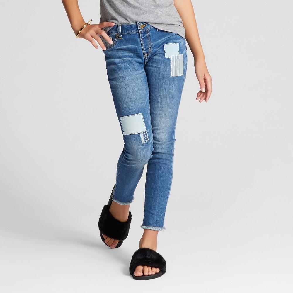 Girls Patched Skinny Jeans - Cat & Jack Blue Dusk 6 Slim