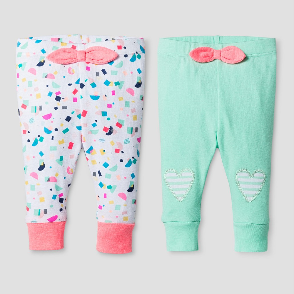 Oh Joy! Baby Girls 2-Pack Pants Set - Green 0-3M, Size: 0-3 M