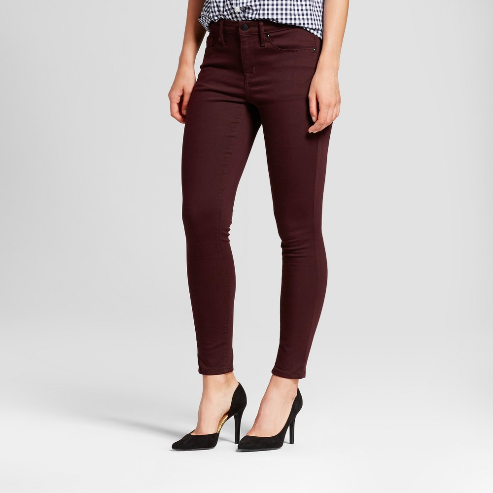 Womens Jeans High Rise Skinny - Mossimo Burgundy 00 Long, Red