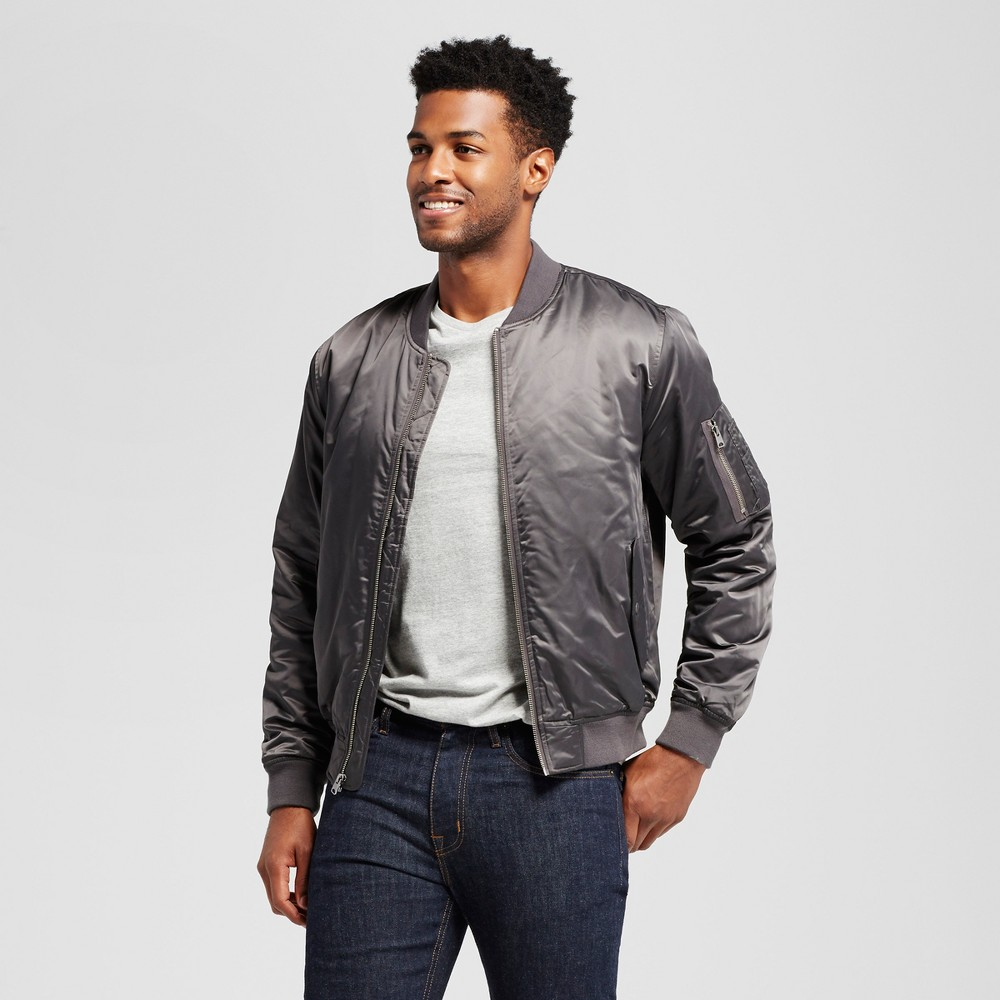 Mens Standard Fit Insulated Bomber Jacket - Goodfellow & Co Gray M
