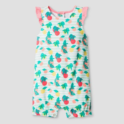 Oh Joy! Baby Girl Fruit Print Romper - Coral 12M