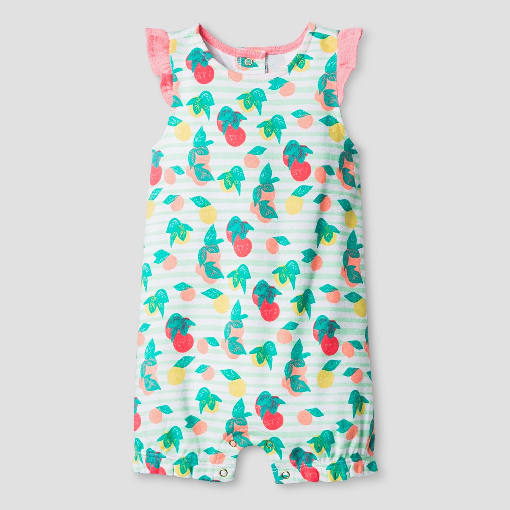 Oh Joy! Baby Girl Fruit Print Romper - Coral 12M, Size: 12 M, Pink