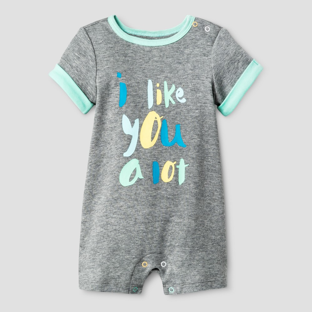 Oh Joy! Baby I like you a lot Romper - Heather Gray 12M, Infant Unisex, Size: 12 M
