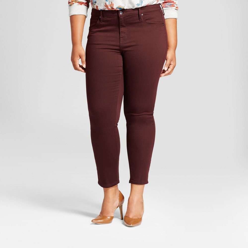 Womens Plus Size Skinny Jean - Ava & Viv Berry 16W, Red