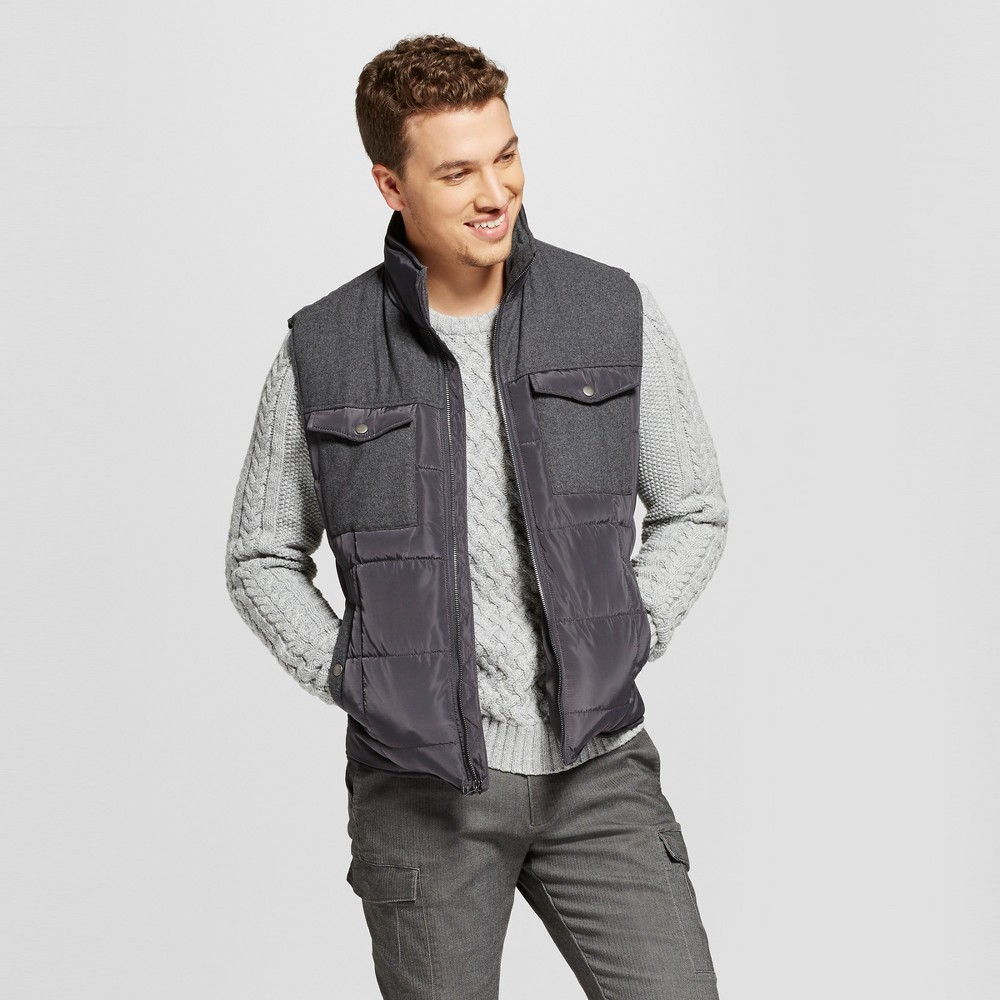 Mens Standard Fit Quilted Vest - Goodfellow & Co Gray Xxl
