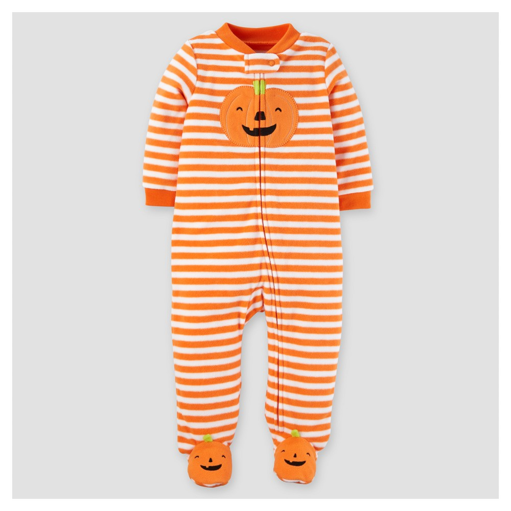 Baby Poly Fleece Stripe Pumpkin Sleep N Play - Just One You Made by Carters Orange 6M, Infant Unisex, Size: 6 M