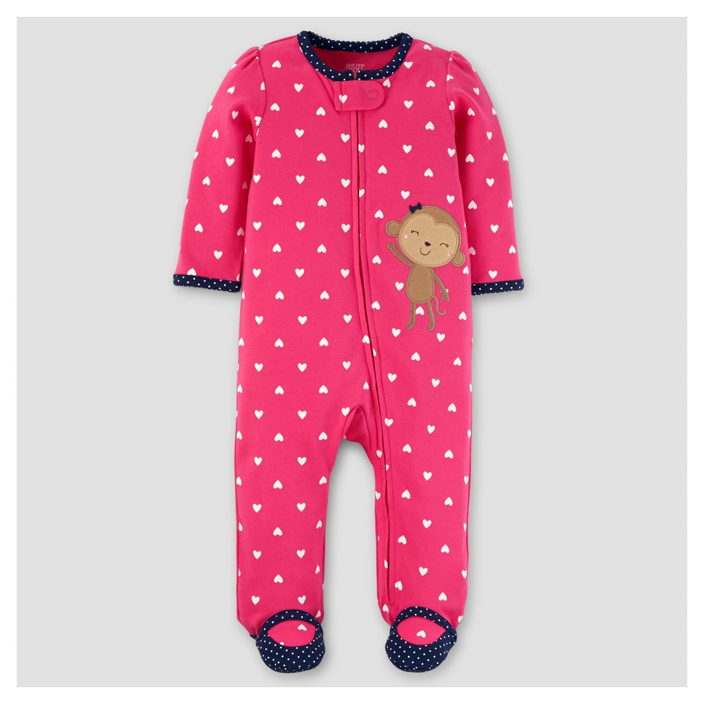 Baby Girls Hearts Monkey Sleep N Play - Just One You Made by Carters Pink 9M, Size: 9 M