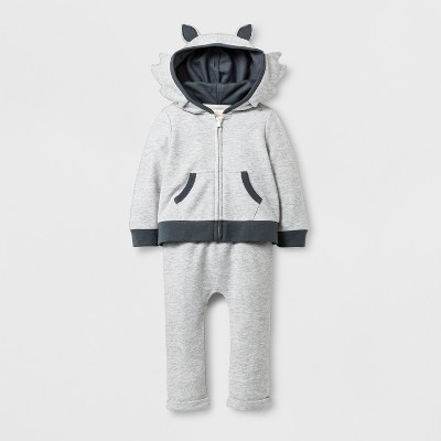 Baby Boys' 2pc Wolf Hooded Sweatshirt and Jogger Set - Cat & Jack™ Gray 6-9M
