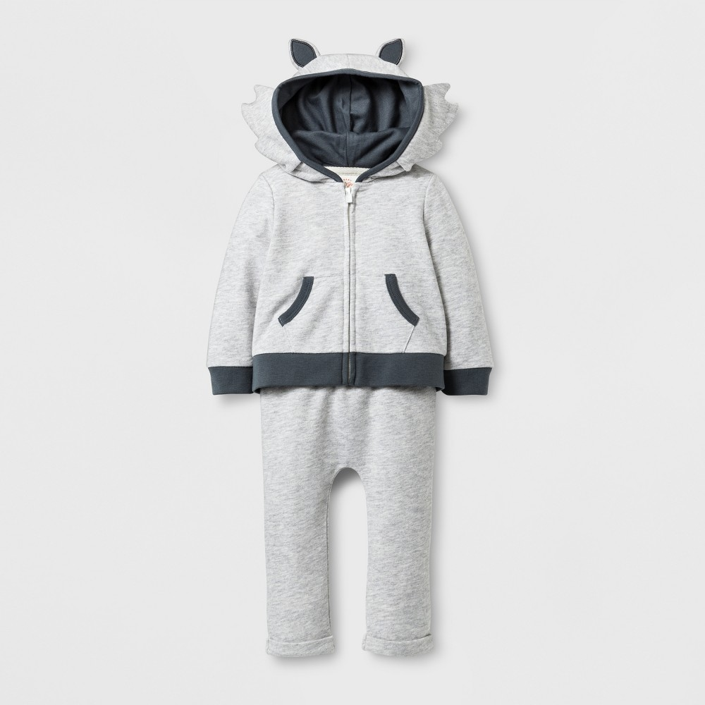 Baby Boys 2pc Wolf Hoodie and Jogger Set - Baby Cat & Jack Grey 6-9 Months, Size: 6-9 M, Gray