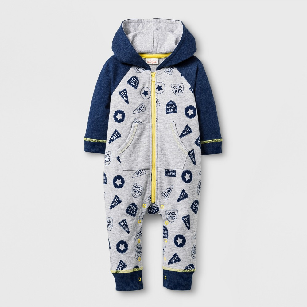 Baby Boys Hooded Zip Romper - Cat & Jack Gray NB