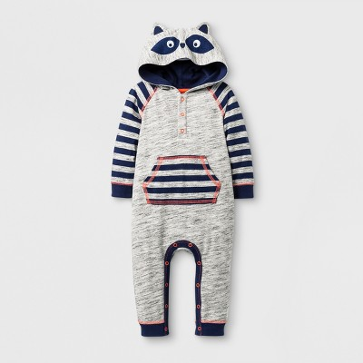 Baby Boys' Raccoon Romper - Cat & Jack™ Gray 0-3 Months