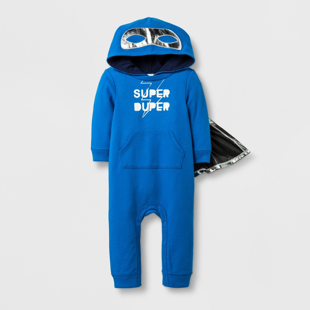 Baby Boys Super Duper Romper - Cat & Jack Blue 12 Months
