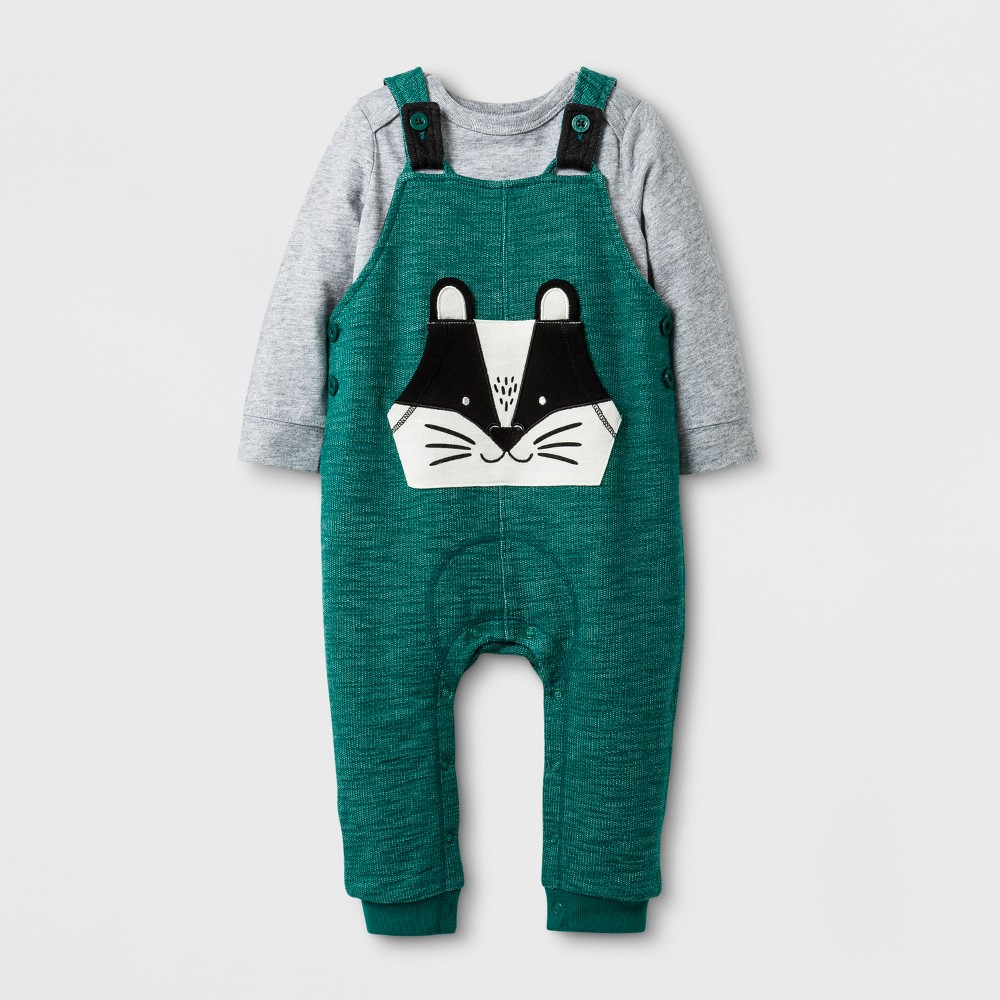 Baby Boys 2pc Bodysuit and Badger Overall Set - Cat & Jack Gray/Green 12 Months, Green Gray