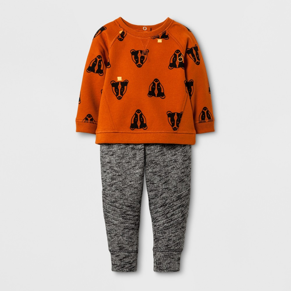 Baby Boys Jogger and Badger Print Sweatshirt - Cat & Jack Gray/Brown 6-9 Months, Size: 6-9 M, Gray Orange