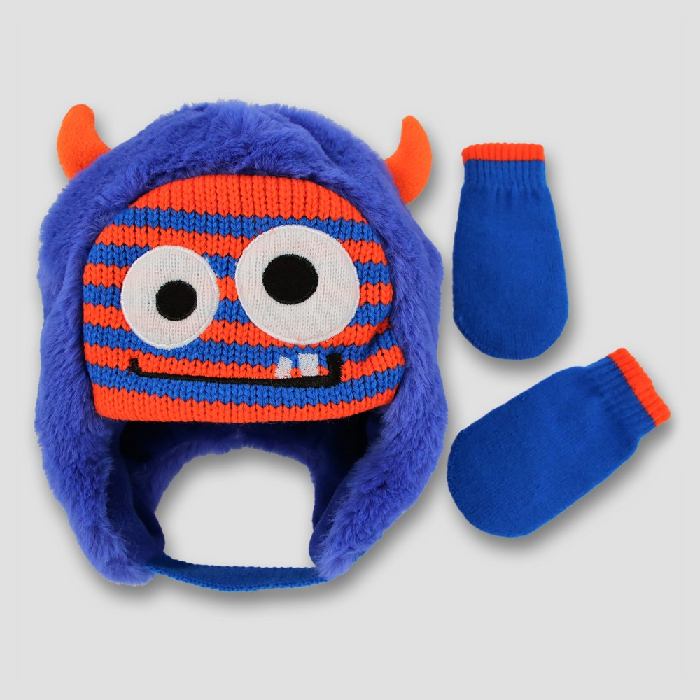 Toddler Fuzzy Scandi with 3D Horns and Mitten Set Cat & Jack - Stripe Monster, Toddler Unisex, Blue
