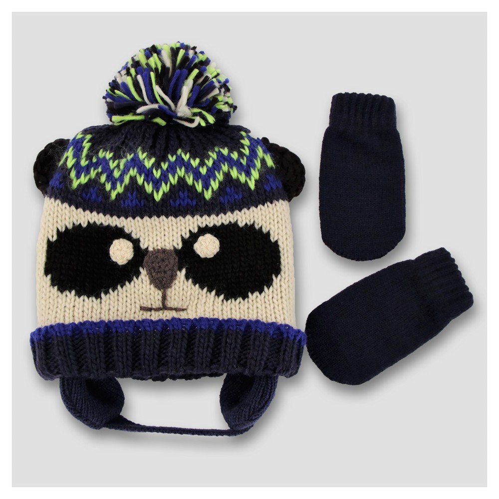 Baby Mixed Pom Beanie and Mitten Set Cat & Jack - Raccoon, Infant Unisex, Blue