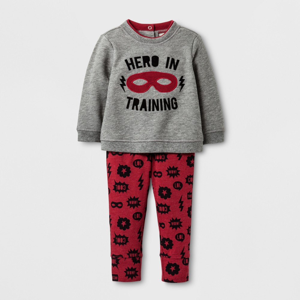 Baby Boys Hero In Training Sweatshirt and Printed Jogger Set - Cat & Jack Gray/Red 0-3 Months, Size: 0-3 M, Gray Red