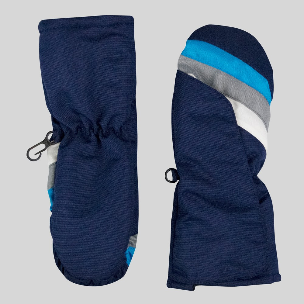 Toddler Boys Easy On/Off Stripe Mittens - Cat & Jack Blue One Size