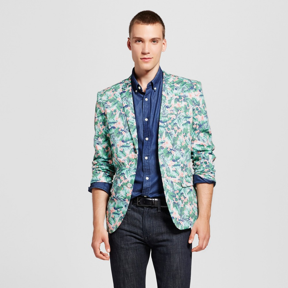 Wd·ny Black - Mens Floral Blazer - Pink/Green S, Multicolored