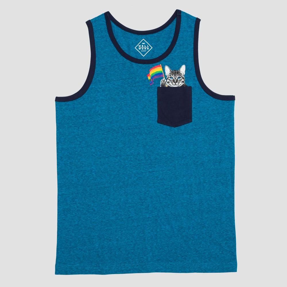 Pride Adult Cat Pocket Tank - Blue Xxlt, Mens, Size: Xxl Tall