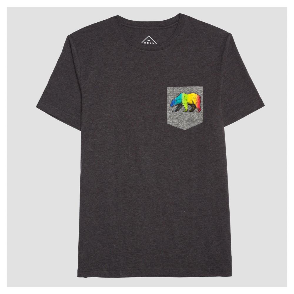 Pride Adult Rainbow Bear Pocket T-Shirt Charcoal Heather LT, Mens, Gray