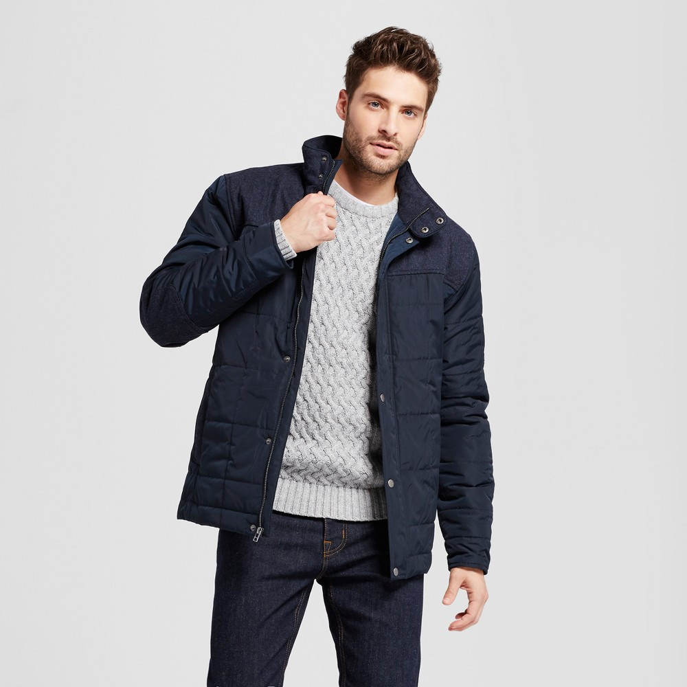 Mens Quilted Parka With Wool Patching - Goodfellow & Co Navy (Blue) S
