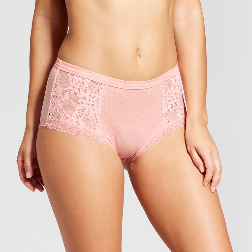 Womens Ribbed High Waist Bikini Briefs - Xhilaration Light Pink - L