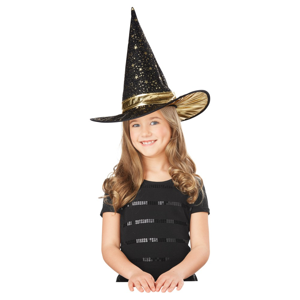 Girls Star Black and Gold Witch Hat - Hyde and Eek! Boutique