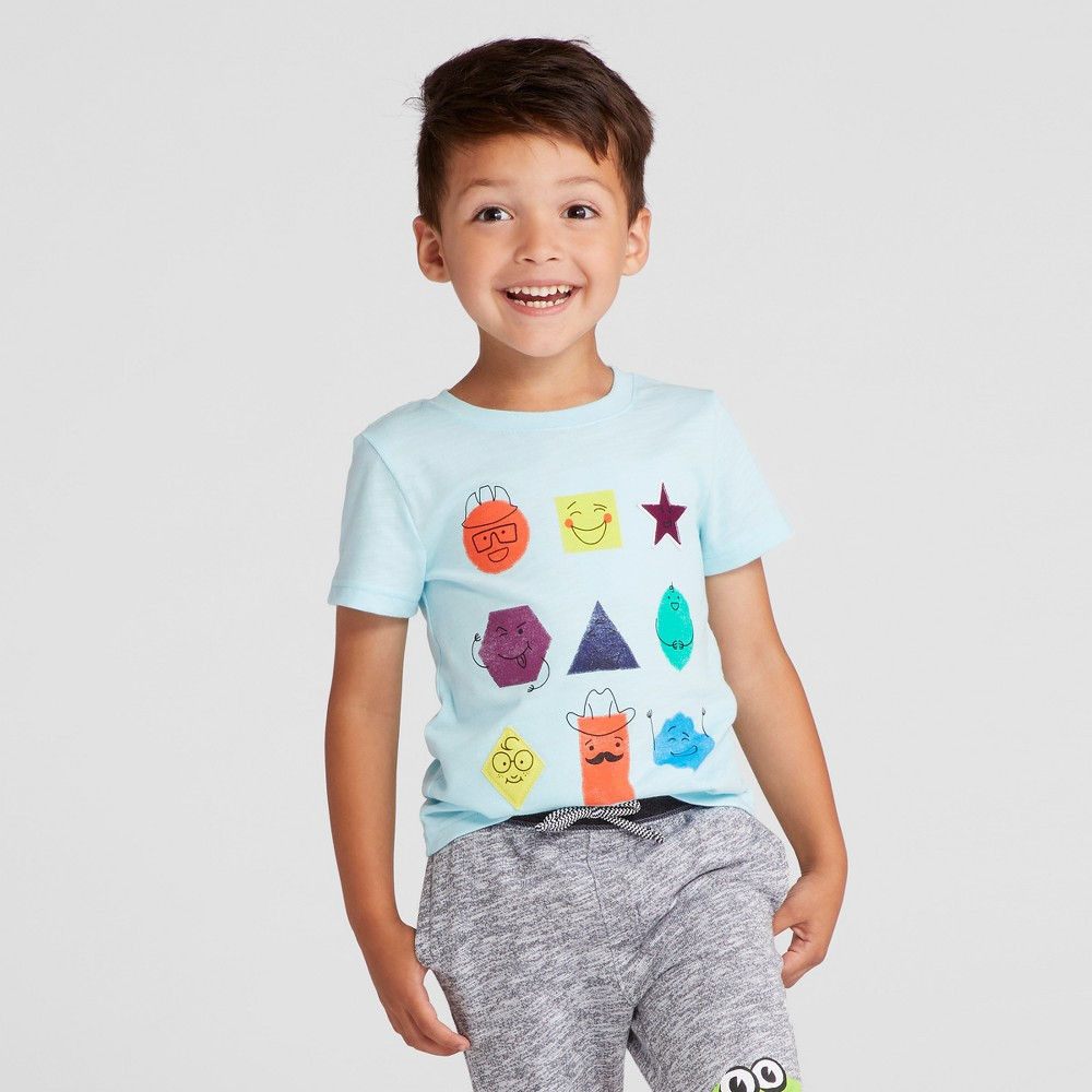 Toddler Boys Shapes Graphic T-Shirt - Cat & Jack Turquoise 5T, Blue