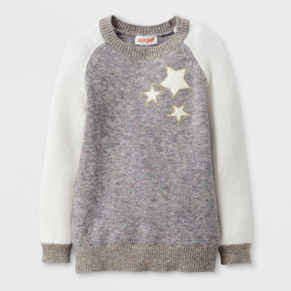 Toddler Girls Crew Neck Pullover Cat & Jack - Pink 12M, Size: 12 M, Gray