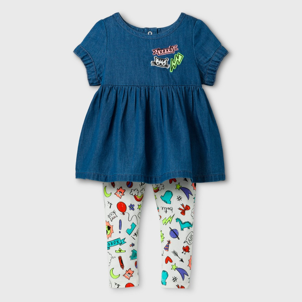 Baby Girls Denim Tunic and Leggings Set - Cat & Jack 18 Months, Size: 18 M, Blue