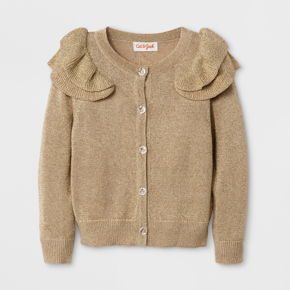 Toddler Girls Button Cardigan With Ruffle At Shoulder Cat & Jack - Gold 5T