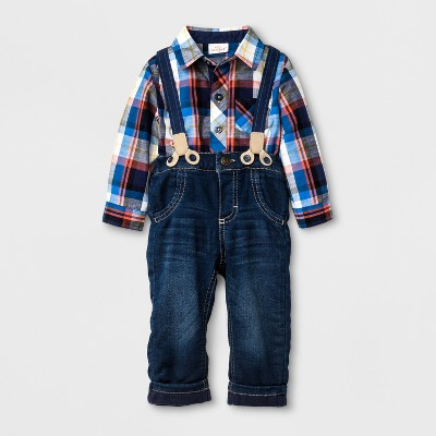 Baby Boys' Long Sleeve Button Down Shirt and Pants with Suspenders Set - Cat & Jack™ Ebony 12M
