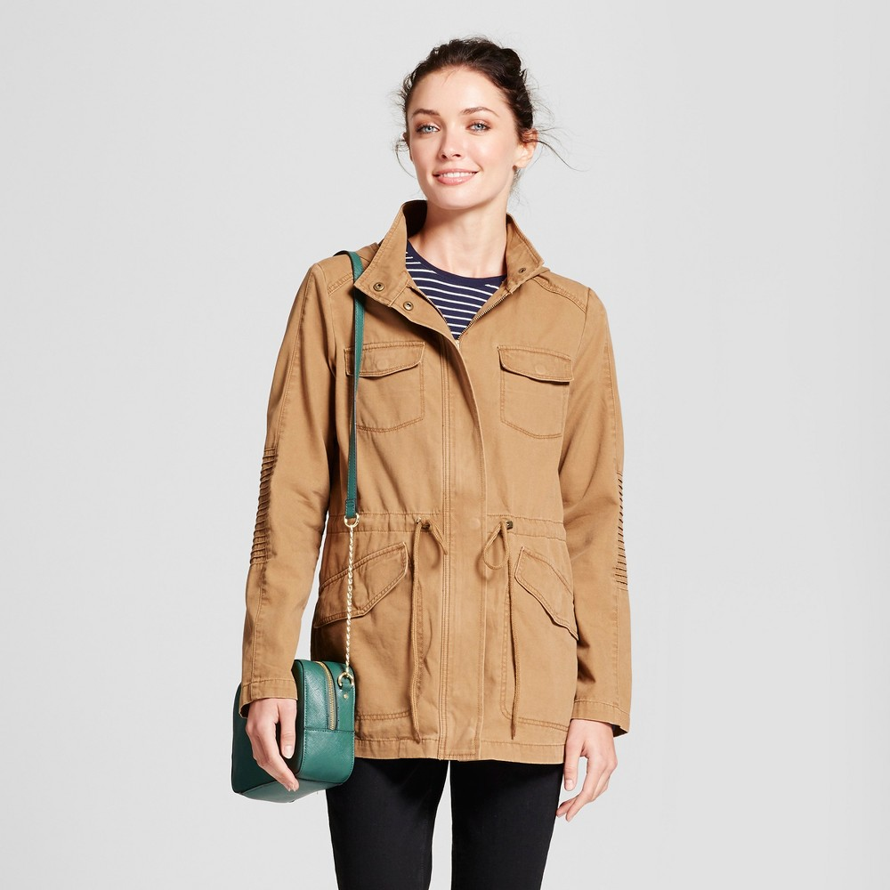 Womens Twill Anorak Hooded Jacket - A New Day Tan S