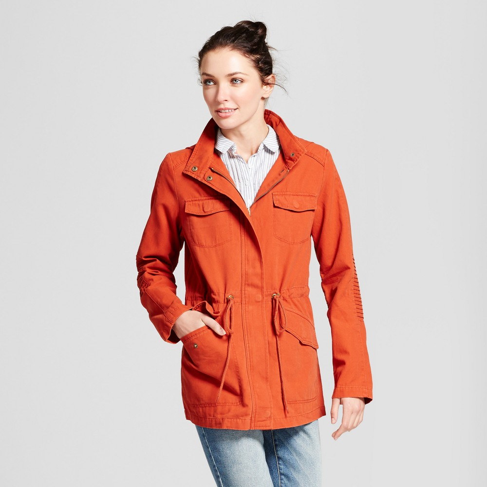 Womens Twill Anorak Hooded Jacket - A New Day Burnt Orange L